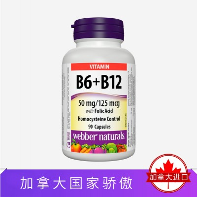 Webber Naturals维生素B6+B12超浓叶酸90粒