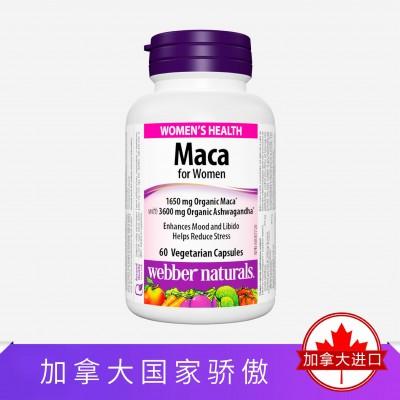 Webber Naturals女士玛卡精华含南非醉茄60粒 舒缓压力改善情绪增强免疫