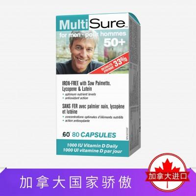Webber NaturalsMultisure®男士50+多维胶囊80粒 有效期21年3月30日